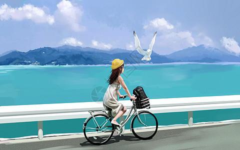 夏日海边骑行图片