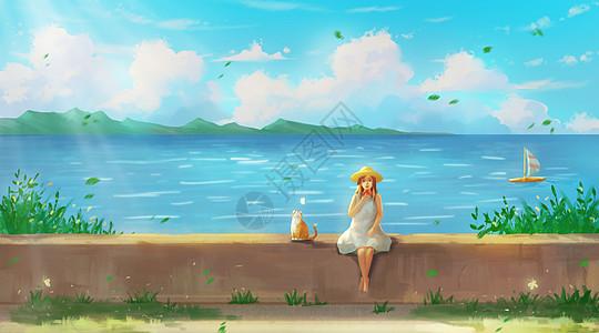 夏日海边的少女与猫图片