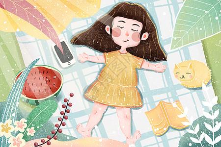小清新肌理夏天小女孩乘凉睡觉插画图片