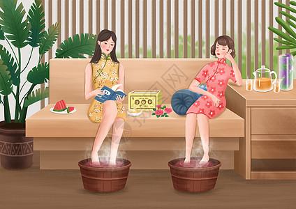 女性养生插画之泡脚图片