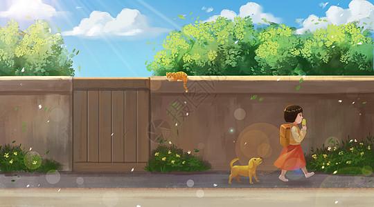 放学路上吃冰淇淋的小女孩图片