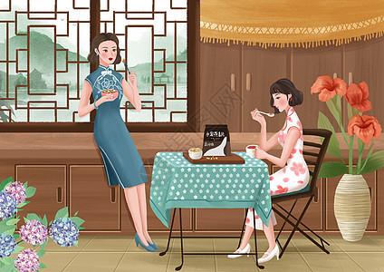 女性养生插画之速食早餐图片