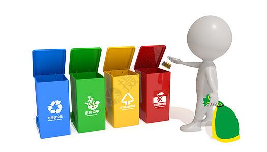 3D小人垃圾分类场景图片