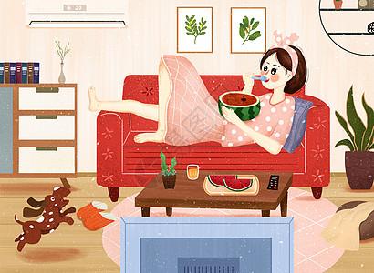 夏季居家避暑吃西瓜看电视插画图片