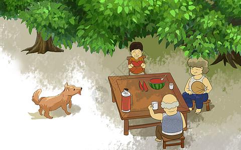 夏日树下乘凉图片