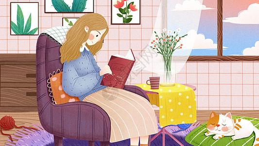 女孩生活居家室内插画图片