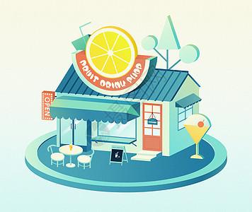 夏天水果冷饮店2.5D插画图片