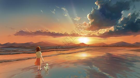 夏日海边的黄昏图片