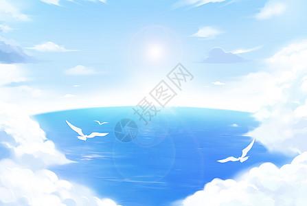 天空云与海与鸟图片