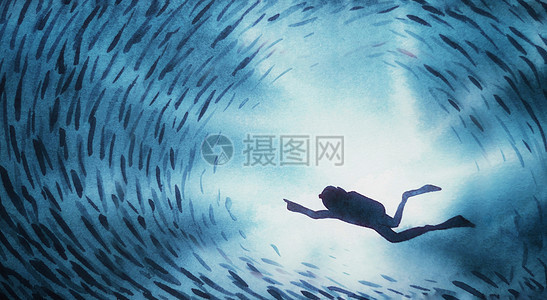 自由潜水插画图片