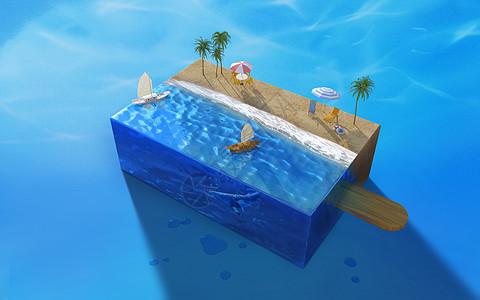 创意沙滩雪糕图片