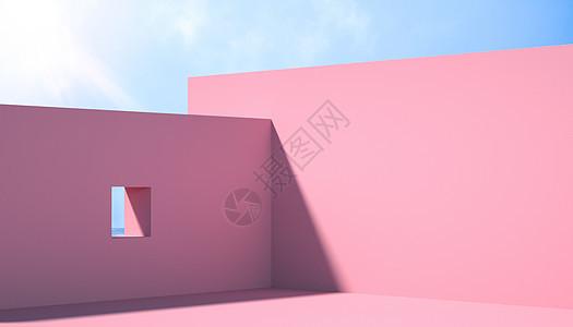 C4D粉红空间背景图片