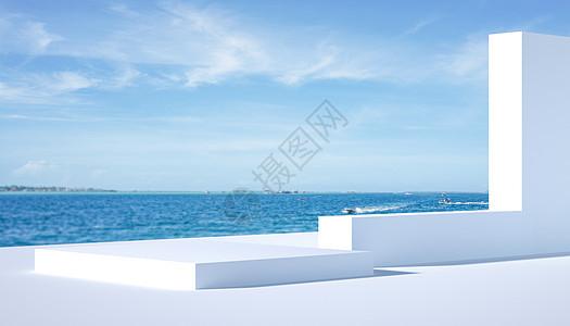 C4D简约海边背景图片