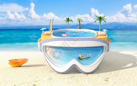 夏日清爽海滩创意泳池图片