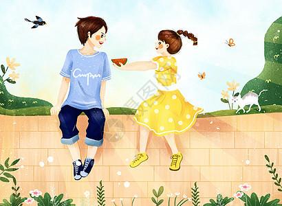 夏季之小情侣约会吃西瓜插画图片