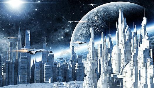 科幻未来城市场景图片