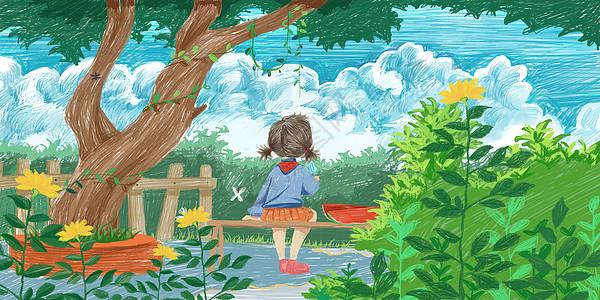 夏天乘凉看云的小女孩图片