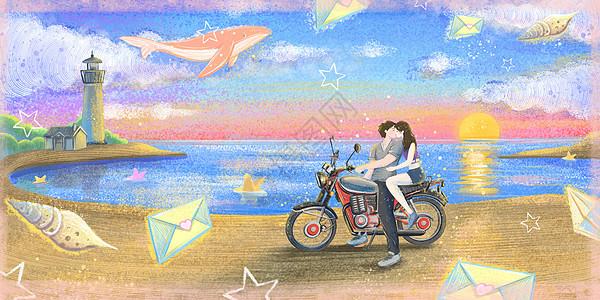 海边骑摩托车接吻的情侣图片