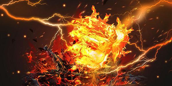 闪电光火焰背景图片