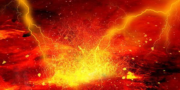 闪电火焰背景图片