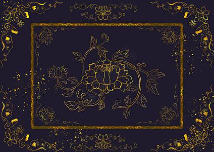 烫金中国风白描花卉图片
