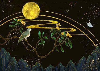 烫金中国风枇杷与鸟图片