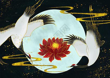烫金中国风仙鹤与红莲图片