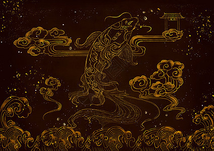 烫金鲤鱼中国风图片