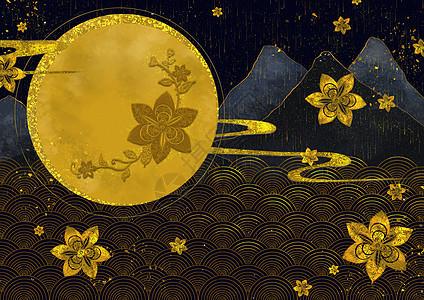 烫金中国风波纹图片