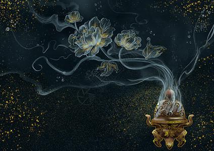 烫金中国风烟雾香炉图片