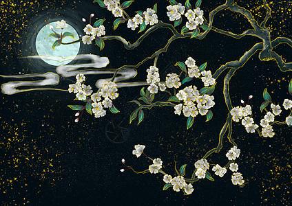 烫金中国风白色花卉图片