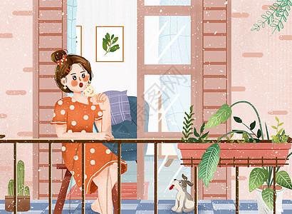 小清新之居家避暑阳台吃棒冰插画图片