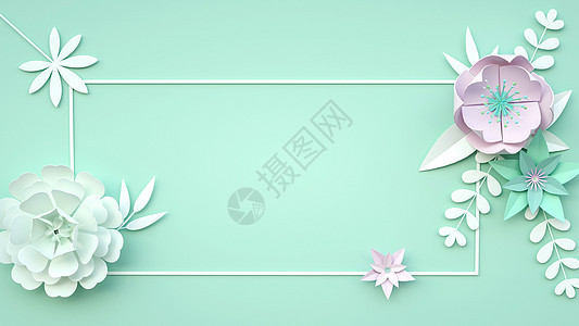 绿色清新浮雕花图片