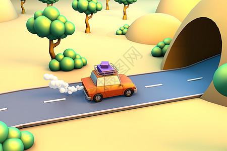 夏日汽车旅行过隧道场景图片