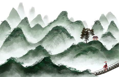 绿色浓墨山水画图片