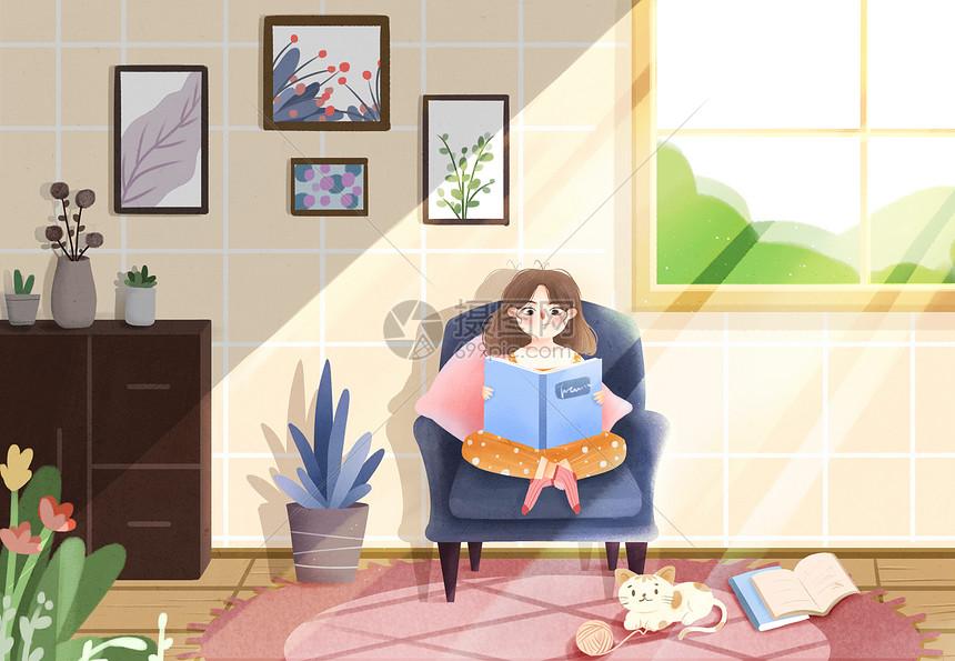 少女居家室内插画图片