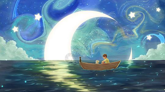 与月亮一起漂流的小男孩图片