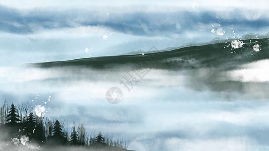 中国风水墨云雾环绕山川图片