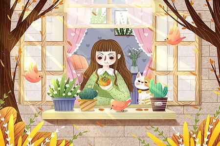 立秋女孩在窗外绿植图片
