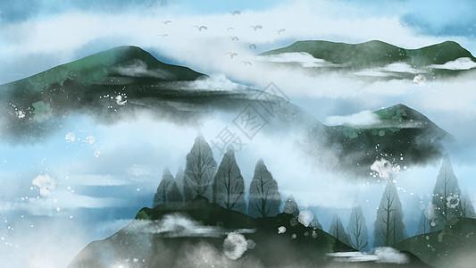 中国画山川水墨风图片