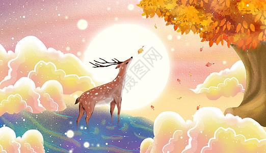 秋天唯美小鹿图片