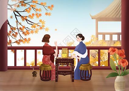 女性养生插画之菊花茶图片