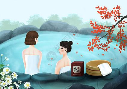 女性养生插画之药浴图片