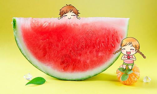 吃西瓜图片