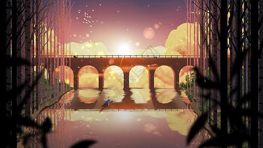 夕阳下划船的少年图片
