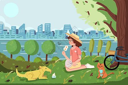 处暑女生在树荫下和狗狗乘凉吃冷饮图片