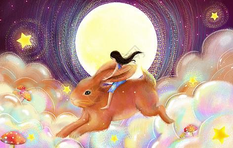 骑兔子的女生图片