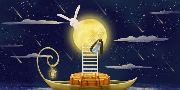 月亮下的小女孩图片