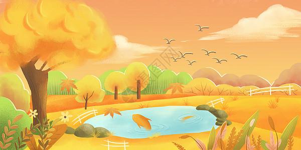 金色秋日黄昏图片