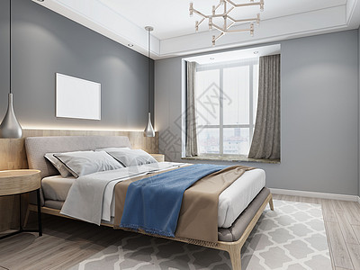 现代简约风卧室图片